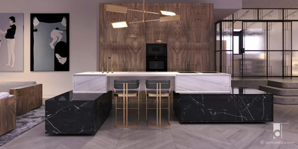 aranżacja kuchni wyspa kamienna z marmuru projekt kuchni wyspy luxury kitchen island design_tarnowski division