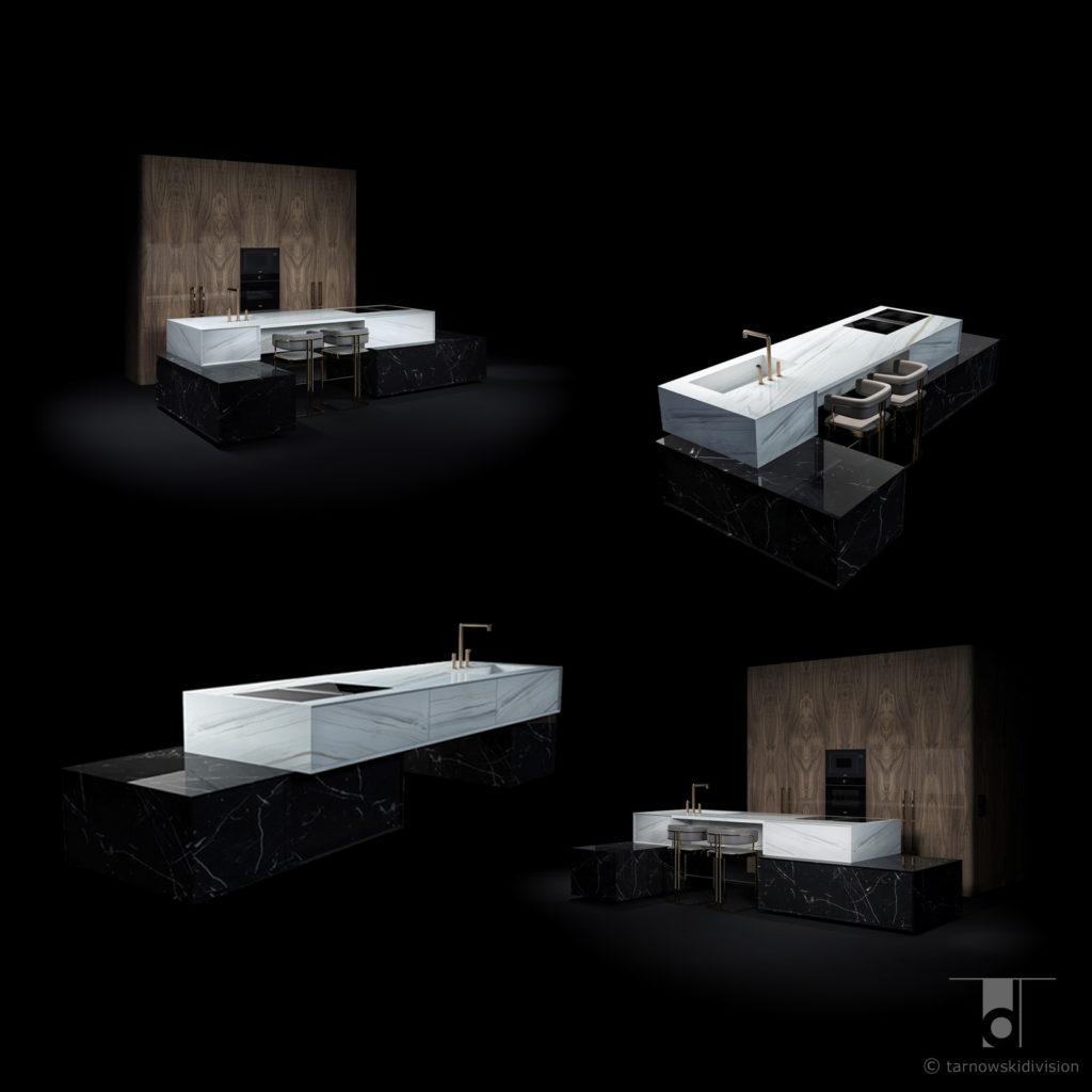 ekskluzywna kamienna wyspa kuchenna z kamienia z marmuru projekt kuchni wyspy luxury marble kitchen island design_tarnowski division
