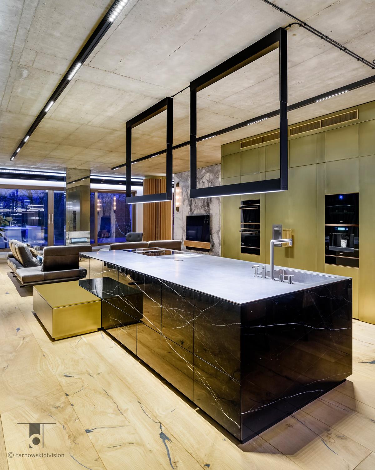 ekskluzywna kuchnia nowoczesna kamienna wyspa kuchenna z kamienia projekt kuchni marble kitchen island design_tarnowski division