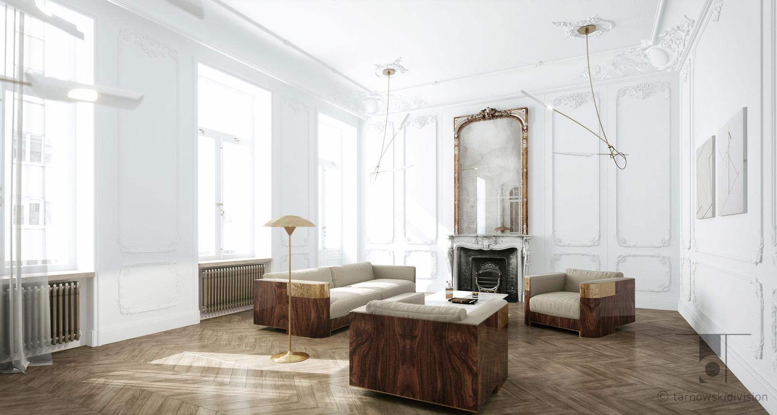 eleganckie wnętrze luksusowe wnętrze ekskluzywne wnętrza paryski apartament luxury living room_tarnowski division