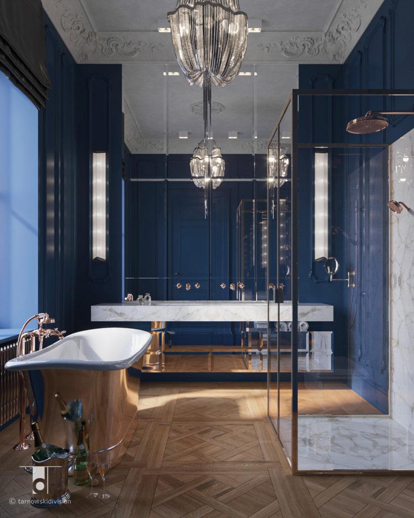luksusowa klasyczna łazienka elegancki pokój kąpielowy classic luksury bathroom interior design_tarnowski division