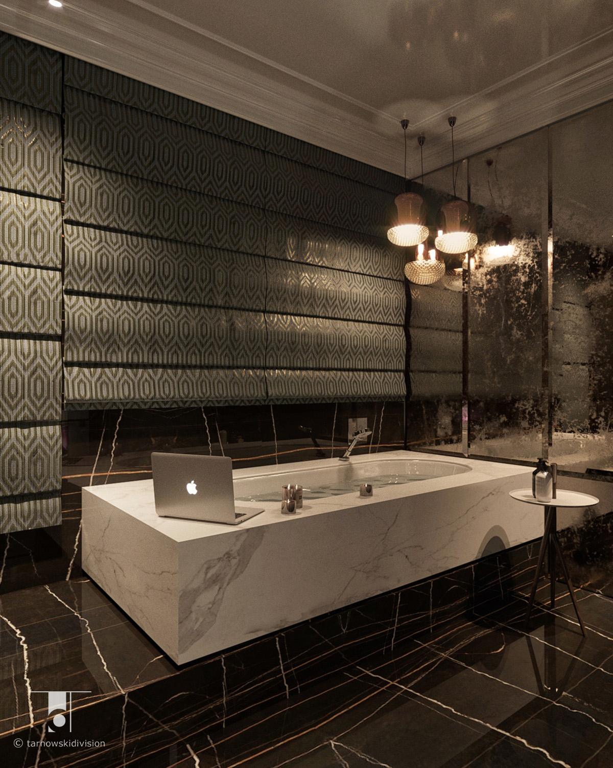 luksusowa łazienka projekt wnętrz łazienki wystrój wnętrz luxury bathroom interior design_tarnowski division