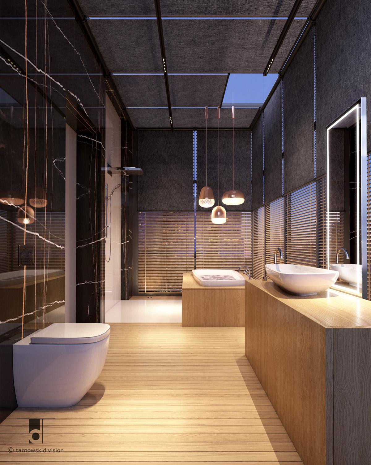 nowoczesna elegancka łazienka projekt wnętrz salonu kąpoielowego modern luxury bathroom interior design_tarnowski division