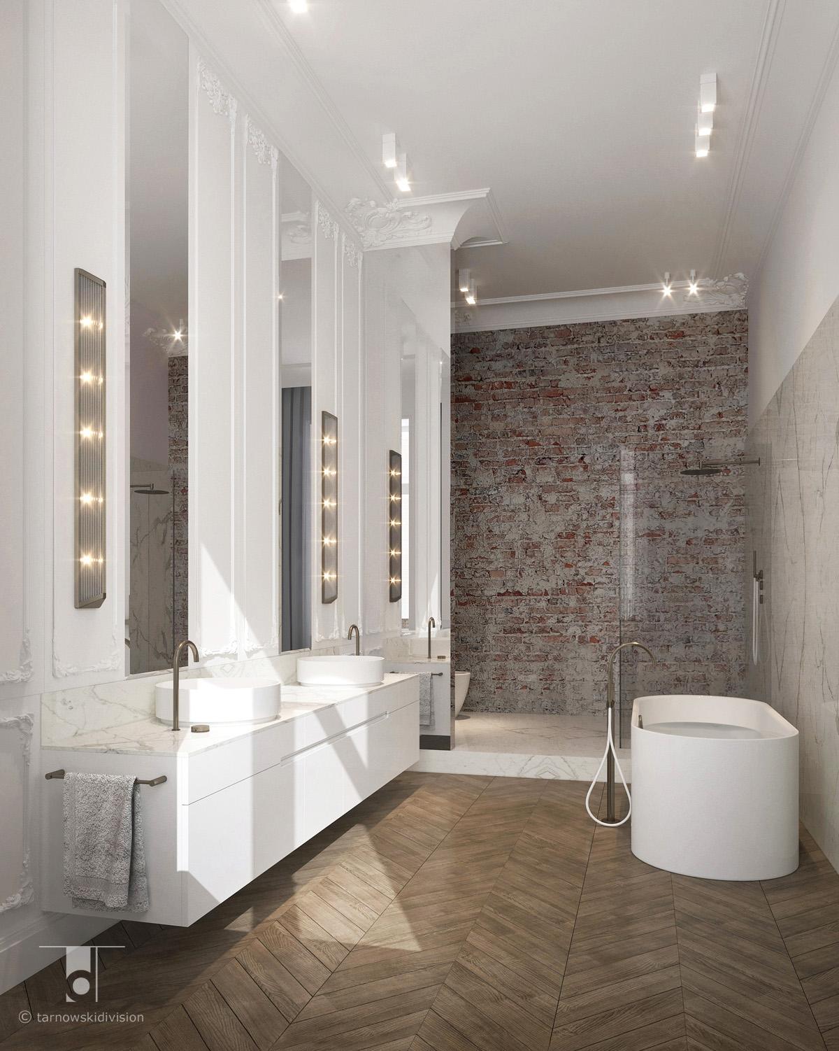 stylowa elegancka łazienka projekt wnętrz salonu kąpielowego classic luxury bathroom interior design_tarnowski division