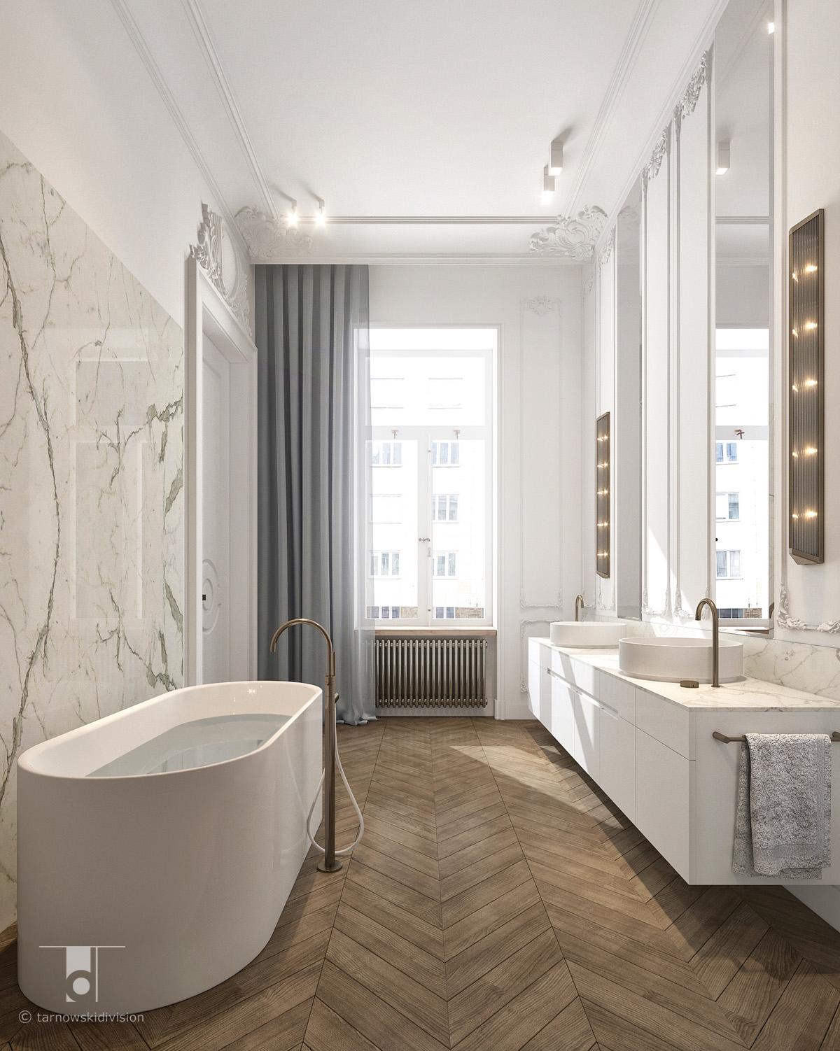 stylowa luksusowa łazienka projekt wnętrz salonu kąpielowego classic luxury bathroom interior design_tarnowski division