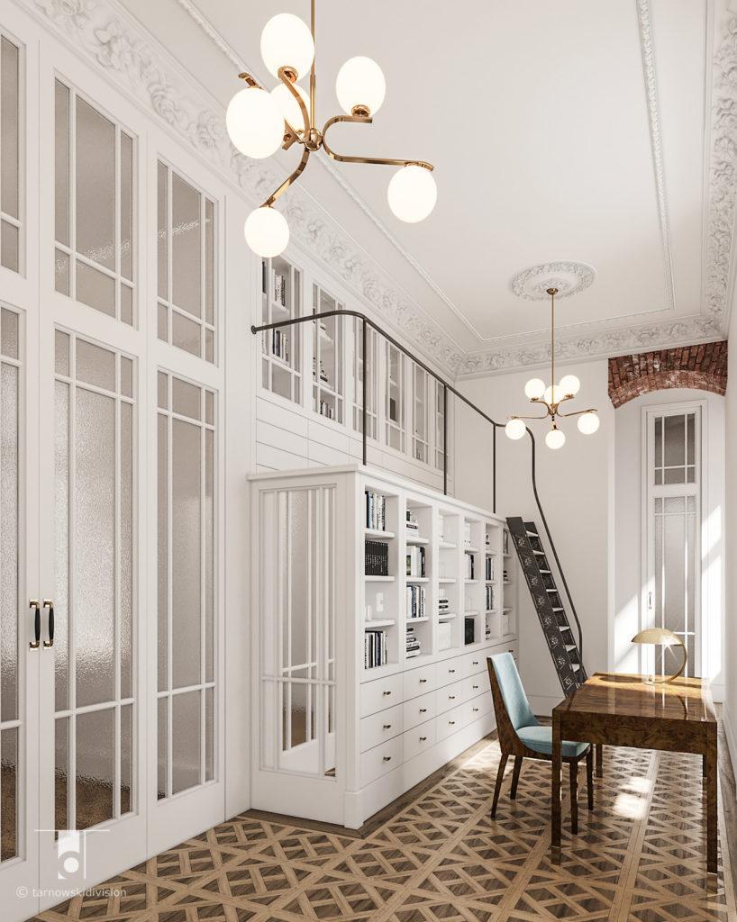 stylowe wnętrza klasyczne wnętrza eleganckie, projekty wnętrz klasycznych stylowych elegancka biblioteka_tarnowski division
