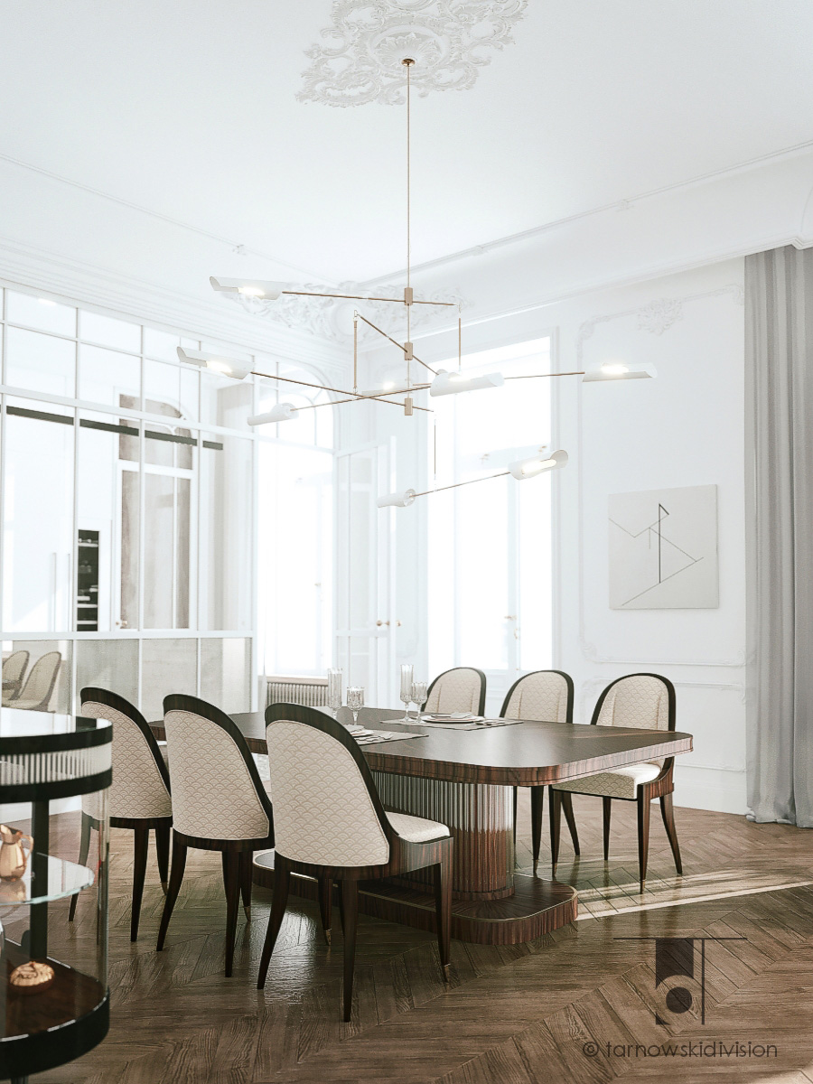 apartment Warsaw_luxury dining room_interior design_view 1_Tarnowski Division