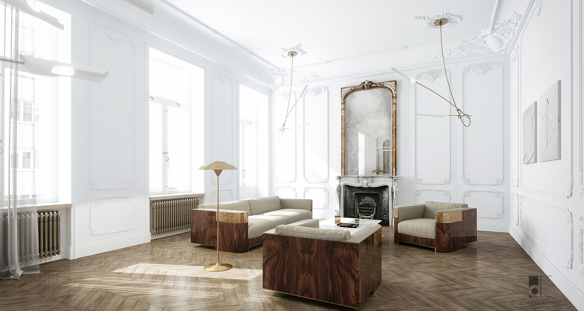 apartment Warsaw_luxury living room_interior design_view 1_Tarnowski Division