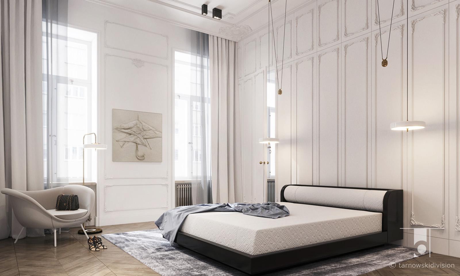 ekskluzywne wnętrza eleganckie wnętrze luksusowe wnętrze sypialni paryski apartament luxury bedroom_tarnowski division