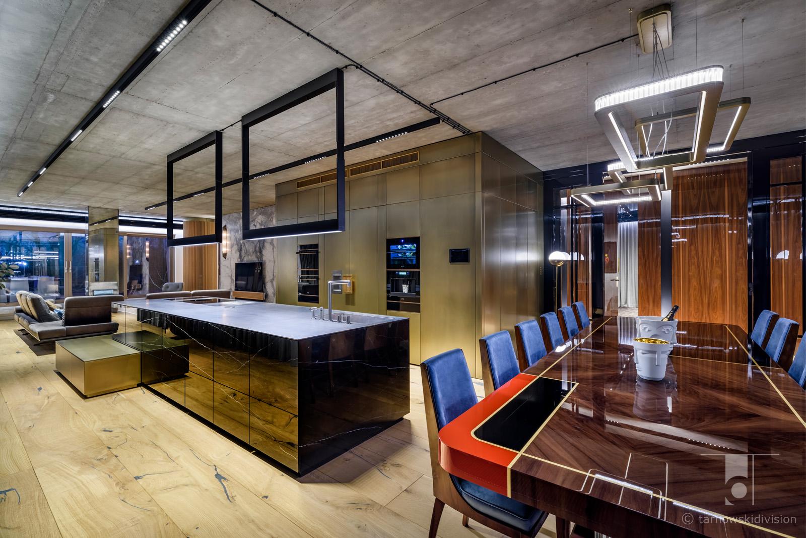 ekskluzywne wnętrza eleganckie wnętrze luksusowy apartament elegant kitchen luxury apartament dining room_tarnowski division