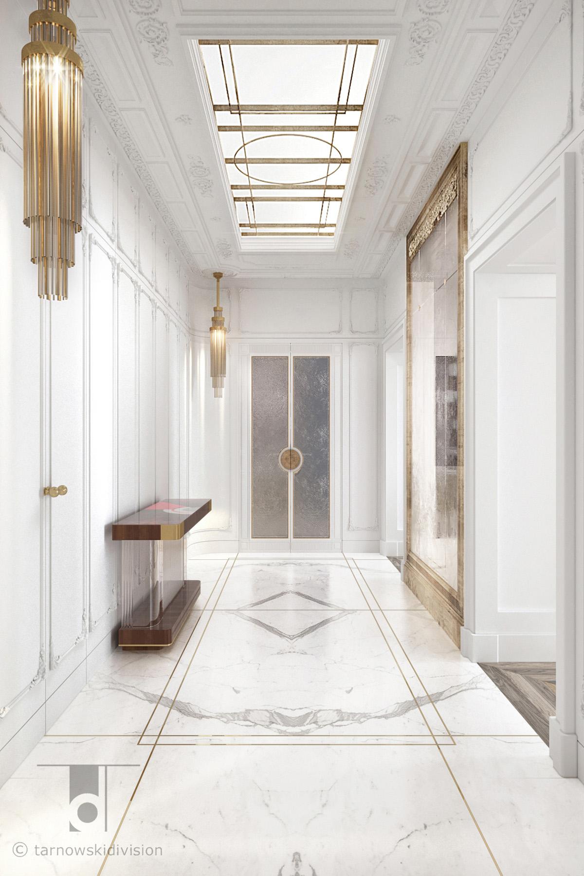 eleganckie wnętrze luksusowe wnętrze ekskluzywne wnętrza paryski apartament luxury hol lobby_tarnowski division