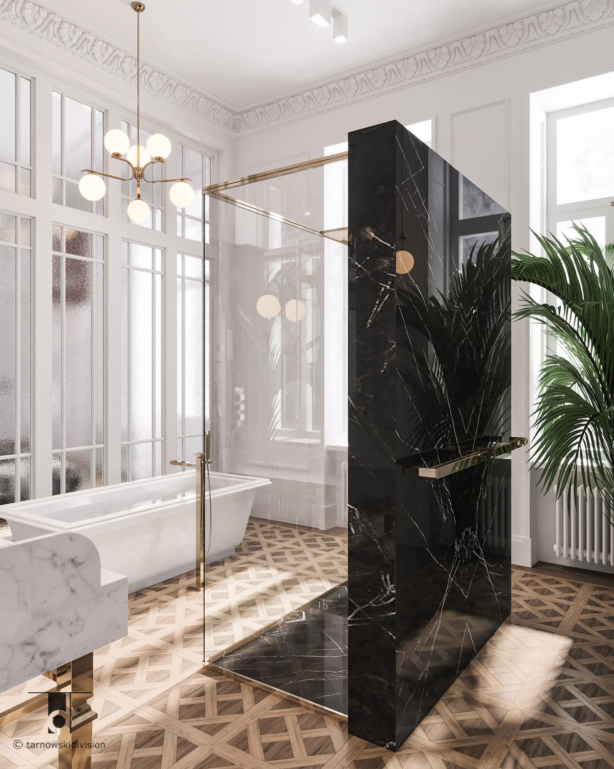 klasyczna luksusowa łazienka elegancki pokój kąpielowy classic luxury bathroom interior design_tarnowski division