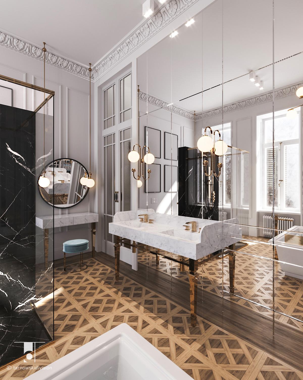 luksusowa łazienka klasyczna elegancki pokój kąpielowy projekt wnętrz łazienki luxury bathroom interior_tarnowski division
