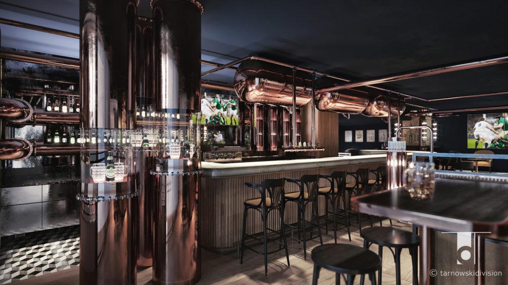 pub bar restauracja Hop House Hilton Praga projekt baru wnętrza beer bar restaurant interior design_tarnowskidivision