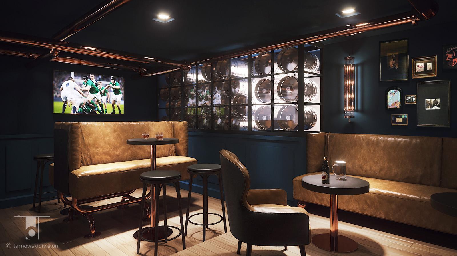 wnętrze restauracji pub Hop House Hotel Hilton Praga restauracja projekt wnętrz restaurant interior design_tarnowskidivision