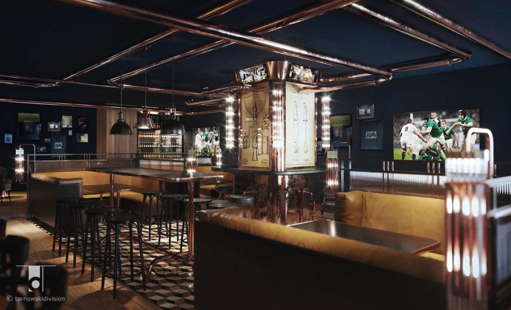 wnętrze restauracji pubu Hop House Hotel Hilton Praga restauracja projekt wnętrz restaurant pub interior design_tarnowskidivision